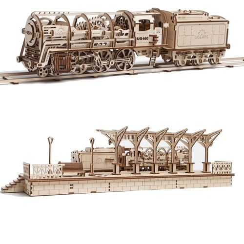 Ugears Railways Set Locomotive + Railway Platform
