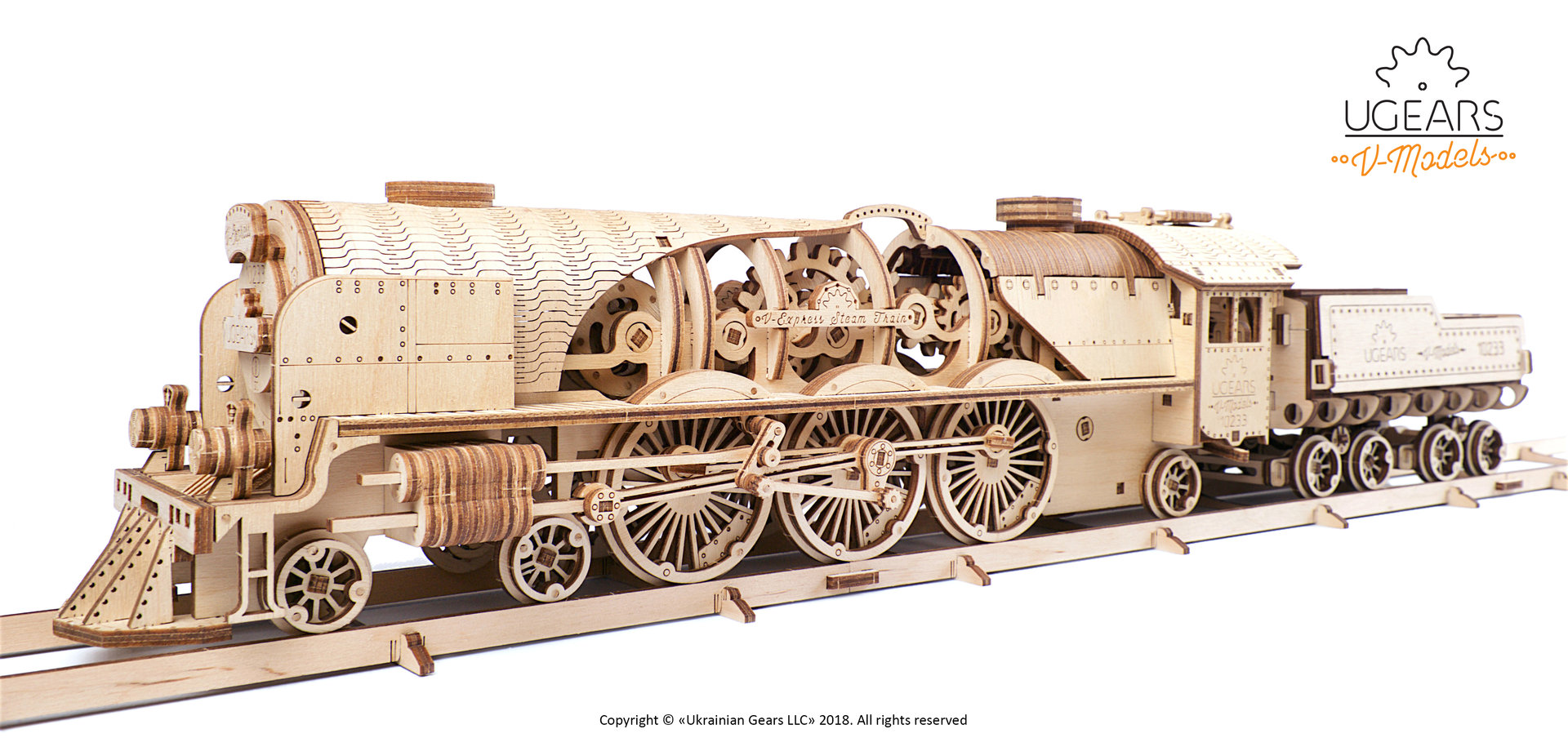 Mechanical Wooden Model Kit 70058 UGEARS V-Express Steam Train with Tender